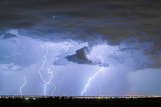 Thunderstorm and Lightning Striking Firestone Colorado 1 by James BO Insogna