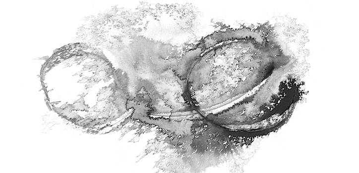 Tides - Black And White Abstract Ink by Modern Art Prints