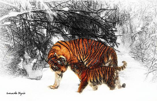 Tiger And Baby On Gray Background - PA by Leonardo Digenio