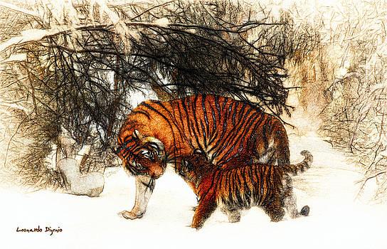Tiger And Baby - PA by Leonardo Digenio