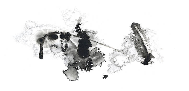 Time - Black and White Abstract Ink by Modern Art Prints