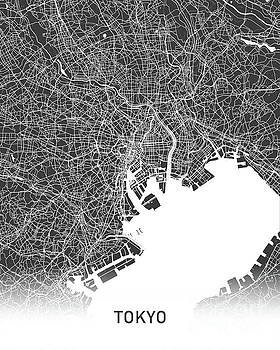 Tokyo map balck and white by Delphimages Photo Creations