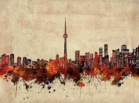 Toronto Skyline Sepia by Bekim Art