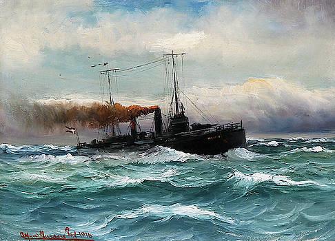 Alfred Jensen - Torpedo Boat in Rough Sea
