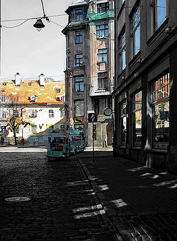 Tourist Bus In The Streets Of Old Riga... by Aleksandrs Drozdovs