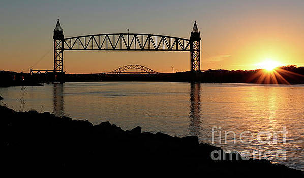 Train Bridge Sunrise by Sharon Mayhak