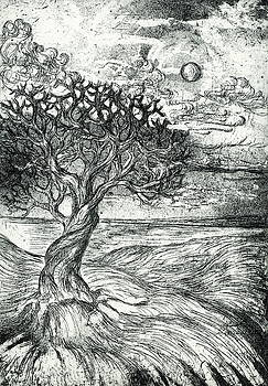Tree and Moon by Daleet Leon