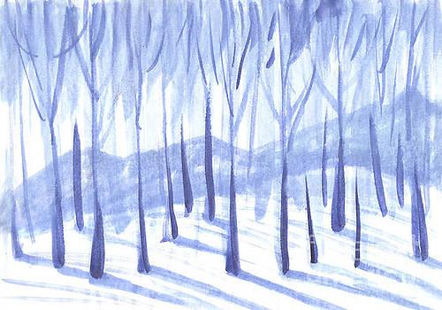 Trees in a snowy forest. by Irina Dobrotsvet