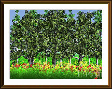 Trees Shading Flowers by Debra Lynch