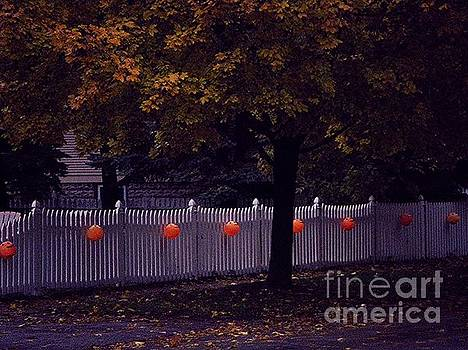 Frank J Casella - Trick or Treat Trail Pumpkins White Picket Fence Autumn Tree