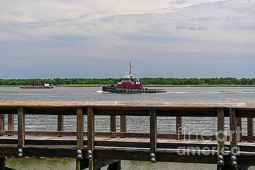 Tug Boat Steaming up the Cooper River by Dale Powell