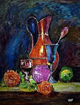 Tulip in still life by Khalid Saeed