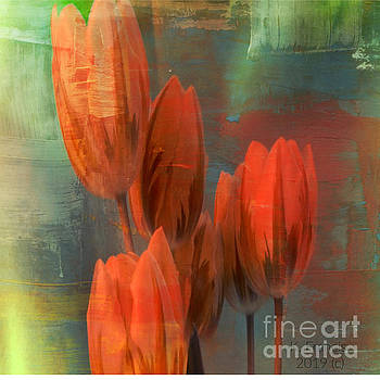 Tulips with Green Background by Karen Francis