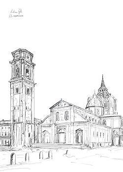 Turin Cathedral drawing by Andrea Gatti
