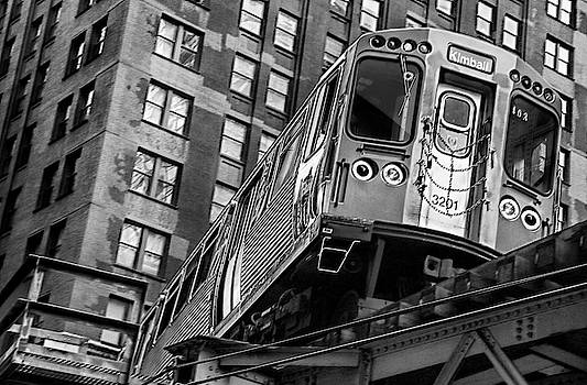 Turning C T A Train in Chicago Loop by Daniel Hagerman