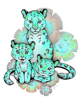 Turquoise Leopards by Sipporah Art and Illustration