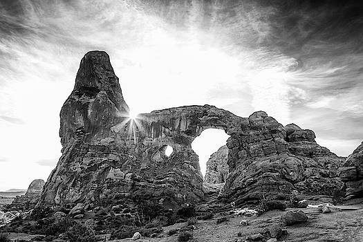 Turret Arch in Arches National Park Black and White Art by Stephanie McDowell