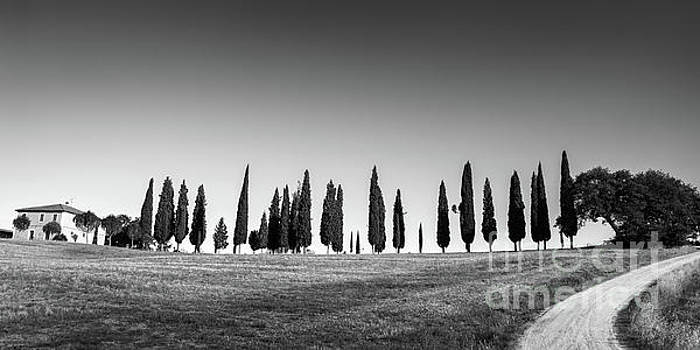 Tuscan panorama black and white by Delphimages Photo Creations