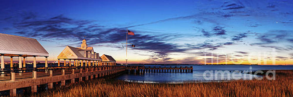Twilight Panorama of Charleston Waterfront Pier and Cooper River - Lowcountry of South Carolina by Silvio Ligutti