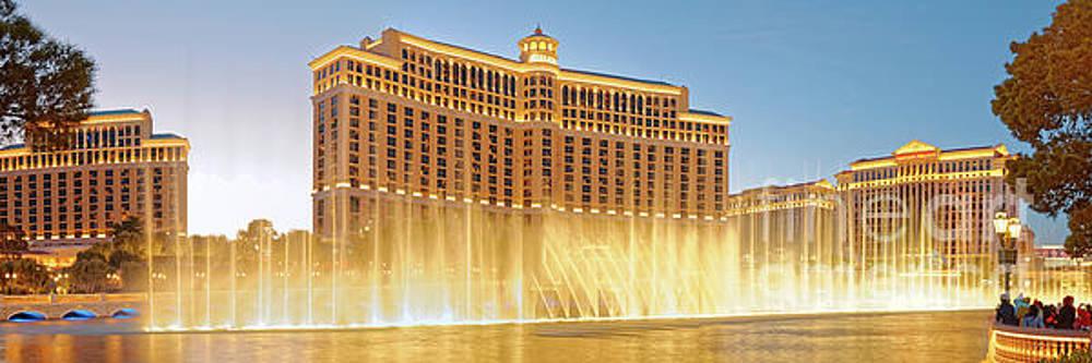 Twilight Panorama of Fountains of Bellagio Water Show -  Las Vegas Boulevard Clark County by Silvio Ligutti