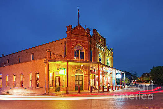 Twilight Photograph of H.D. Gruene Mercantile Building - New Braunfels Texas Hill Country by Silvio Ligutti