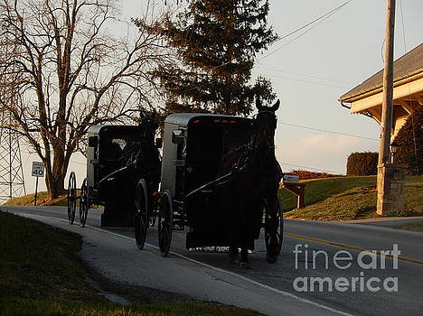 Christine Clark - Two Amish Buggies on a December Evening