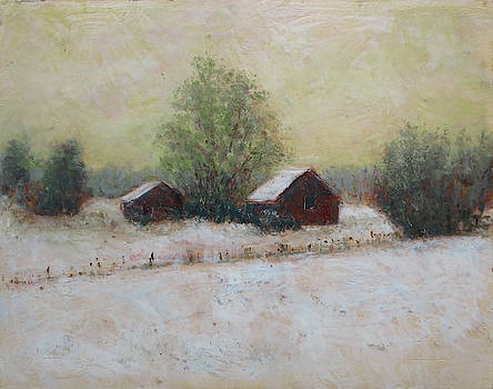 Two Barns, Winter by Keith Kavanaugh