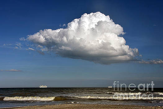 Two Cruise ships Under Huge Cloud by Catherine Sherman