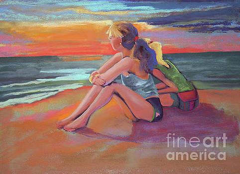 Two Girls Enjoying a Florida Sunset by Cheryl Yellowhawk