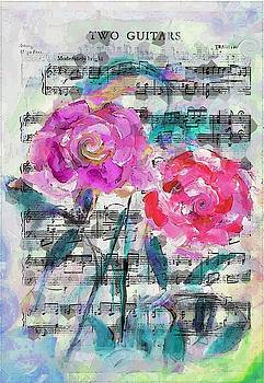Two Guitars Sheet Music With Painted Roses by Lisa Kaiser