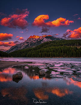 Two Jack Lake Sunset by John Sinclair