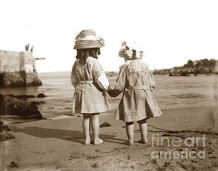 California Views Archives Mr Pat Hathaway Archives - Two little girls on beach at Lovers Point Pacific Grove Circa 19