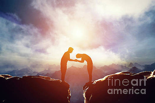 Two men giving handshake and bowing between mountains by Michal Bednarek
