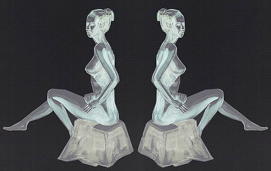 Irina Sztukowski - Two Nude Models Sitting Collage