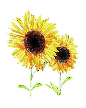 Two Sunny Sunflowers Watercolor by Irina Sztukowski