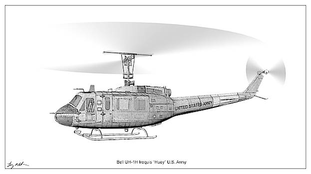 UH-1H Iroquois Drawing by Tommy Anderson