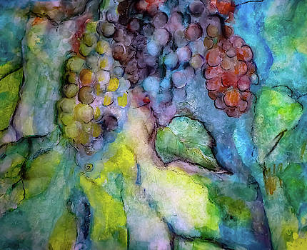 Unfinished Water Color Grapes with Leaves and a Naked Fairy by Lisa Kaiser