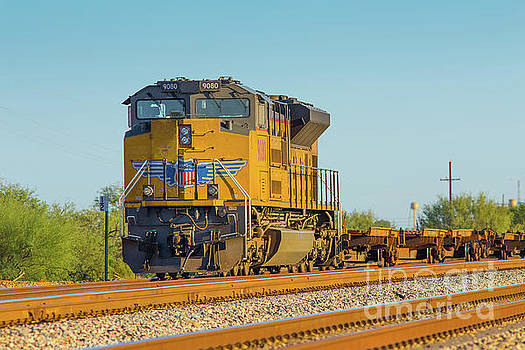 Union Pacific Locomotive at Red Rock Arizona Sunset by Edward Fielding