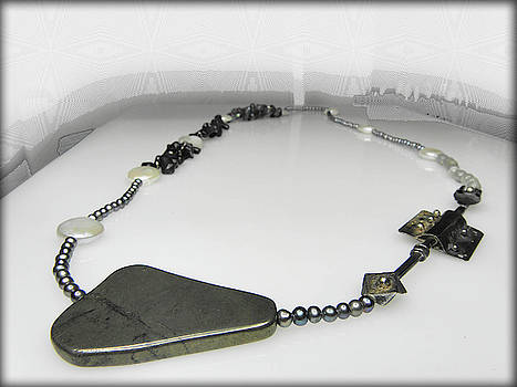 UNIQUE free form long necklace with silver ornament by Vesna Kolobaric