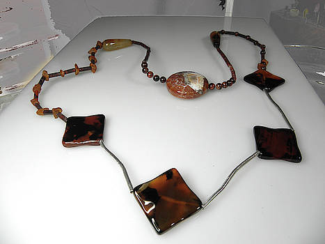UNIQUE multi stone necklace with sterling silver tube by Vesna Kolobaric