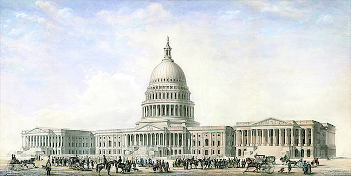 United States Capitol Design for New Dome and Wings 1855 by Thomas Ustick Walter