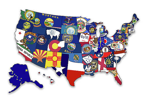 USA States Flags Map by Ricky Barnard