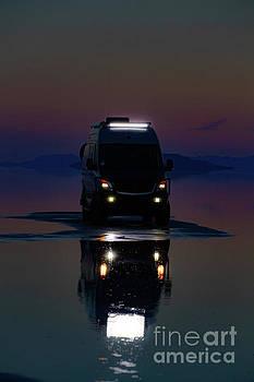 Van in the Salt Flats by Randy Kostichka