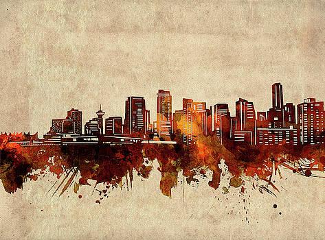 Vancouver Skyline Sepia by Bekim Art