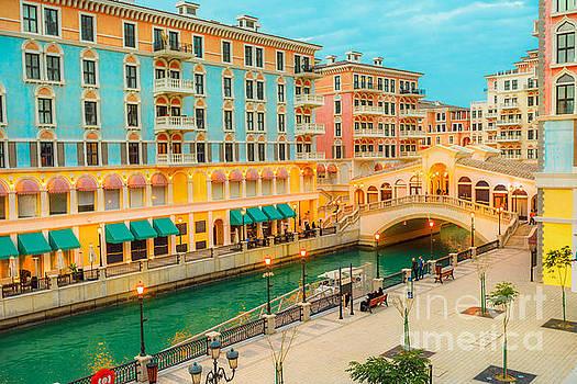 Venice bridge Doha twilight by Benny Marty