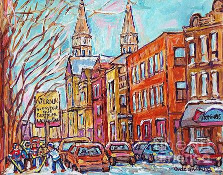 Verdun Montreal Winter Street Hockey Game Corner Gertrude And Wellington Near Church C Spandau Art by Carole Spandau