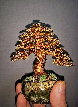 Vibrant Gold Wire Tree Sculpture #193 By Rick Skursky by Ricks Tree Art