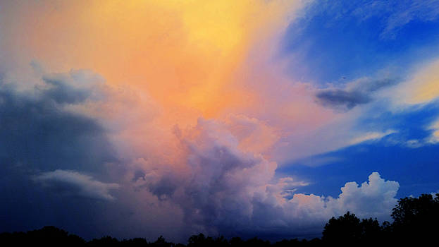 Vibrant Summer Storm at Sunset  by Ally White