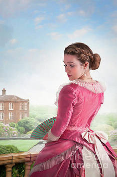 Victorian Woman In A Pink Dress With Mansion And Grounds by Lee Avison