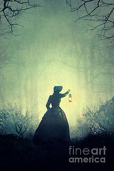 Victorian Woman Outdoors At Night Holding A Lamp by Lee Avison